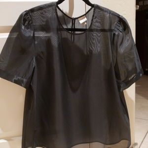 Tops - Sexy!! Black filmy top XL NWOT puff sleeves